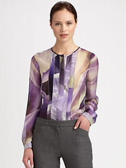 Armani Collezioni - Watercolor Lily Pleated Blouse