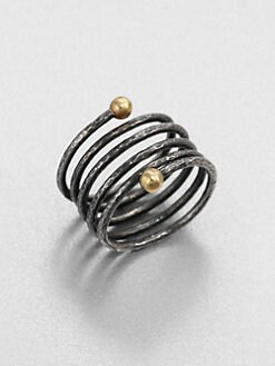 GURHAN - Blackened Sterling Silver & 24K Gold Wrapped Ring
