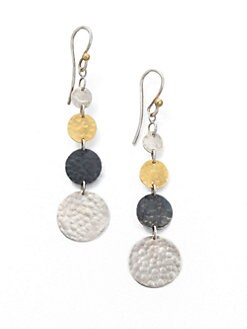 GURHAN - Sterling Silver & 24K Yellow Gold Graduated Drop Earrings