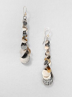 GURHAN - Sterling Silver & 24K Gold Graduated Flake Drop Earrings