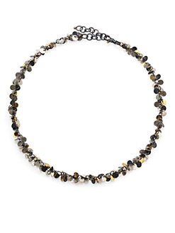 GURHAN - Sterling Silver & 24K Gold Flake Cluster Necklace