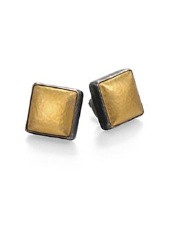 GURHAN - 24K Gold & Blackened Sterling Silver Square Stud Earrings