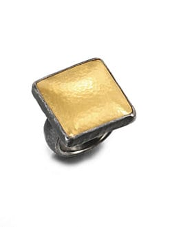 GURHAN - 24K Gold & Blackened Sterling Silver Square Ring