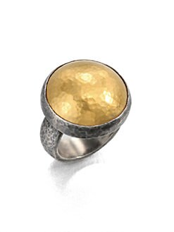 GURHAN - 24K Gold & Blackened Sterling Silver Dome Ring