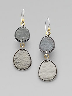 GURHAN - Sterling Silver & 24K Gold Two-Drop Earring