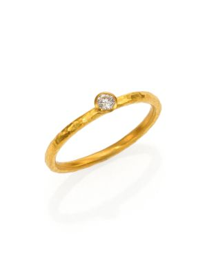 Delicacies Diamond & 24K Yellow Gold Skittle Stacking Ring
