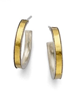 GURHAN - Sterling Silver & 24K Gold Hoop Earrings