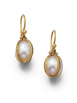 GURHAN - 24K Gold & South Sea Pearl Capture Drop Earrings