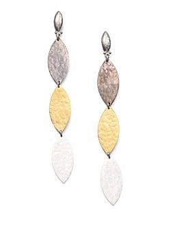 GURHAN - 24K Yellow Gold and Sterling Silver Triple-Tier Earrings