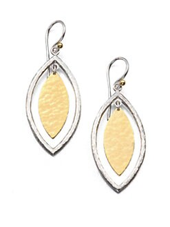 GURHAN - 24K Yellow Gold and Sterling Silver Leaf Earrings