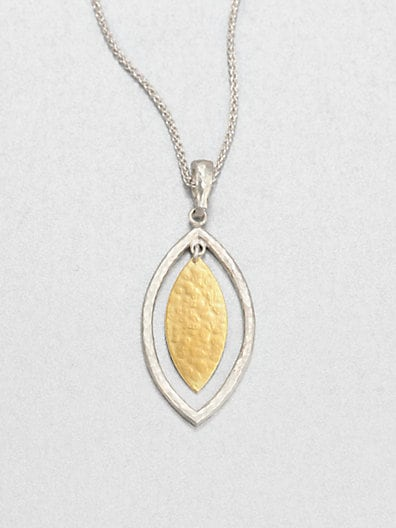 24K Yellow Gold & Sterling Silver Willow Pendant Necklace