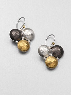 GURHAN - 24K Yellow Gold and Sterling Silver Tri-Color Earrings