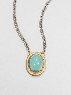 GURHAN - Blue Chalcedony, Sterling Silver and 24K Yellow Gold Necklace