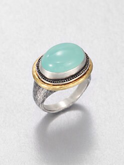 GURHAN - Aqua Chalcedony, Sterling Silver and 24K Yellow Gold Ring