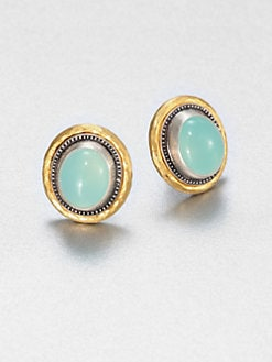 GURHAN - Aqua Chalcedony, Sterling Silver & 24K Yellow Gold Earrings