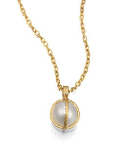 GURHAN - 24K Gold & South Sea Pearl Capture Pendant Necklace
