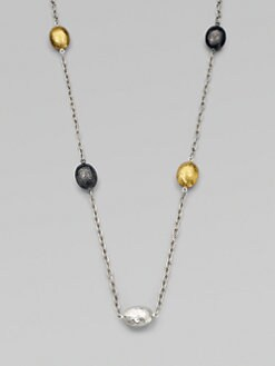 GURHAN - 24K Gold & Dark Sterling Silver Lentil Station Necklace/Long