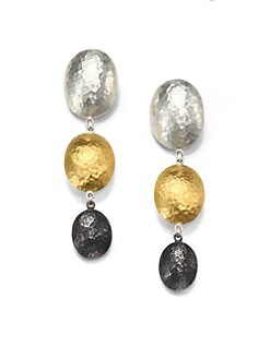 GURHAN - Tri-Tone Sterling Silver & 24K Gold Drop Earrings