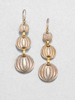 GURHAN - Sterling Silver & 24K Gold Graduted Drop Earrings