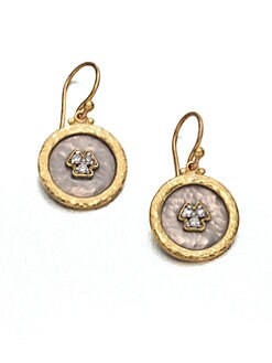 GURHAN - Pave Diamond & 24K Yellow Gold Drop Earrings