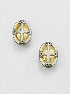 GURHAN - Sterling Silver & 24K Gold Crest Button Earrings
