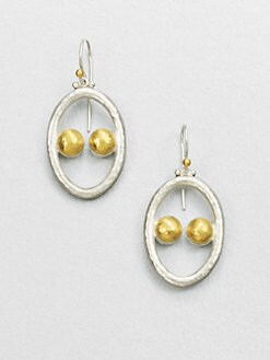 GURHAN - Sterling Silver & 24K Gold Domino Drop Earrings