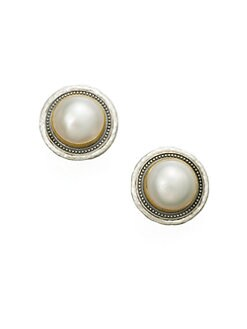 GURHAN - White Mabe Pearl & Sterling Silver Button Earrings