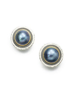 GURHAN - Grey Mabe Pearl & Sterling Silver Button Earrings
