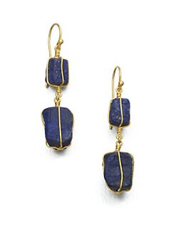 GURHAN - Lapis & 24K Gold Drop Earrings