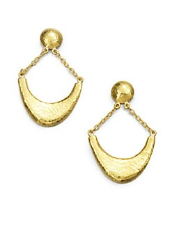 GURHAN - 24K Gold Crescent Drop Earrings