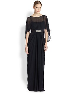 Teri Jon - Gathered Chiffon Cocoon Gown