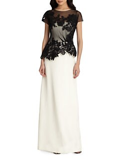 Teri Jon - Bi-Color Lace-Top Gown