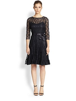 Teri Jon - Pintucked Lace Dress