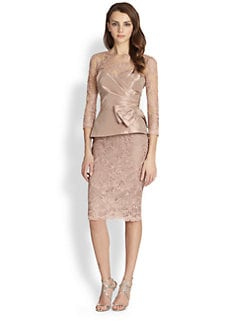Teri Jon - Taffeta Overlay Lace Dress