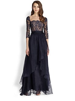 Teri Jon - Lace-Top Chiffon Gown