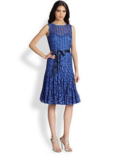 Teri Jon - Floral-Lace Pintucked Dress