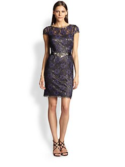 Teri Jon - Lace Cap-Sleeve Dress