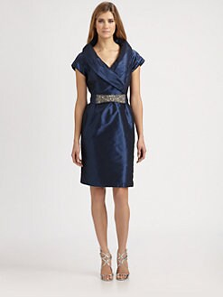 Teri Jon - Taffeta Shawl Collar Dress