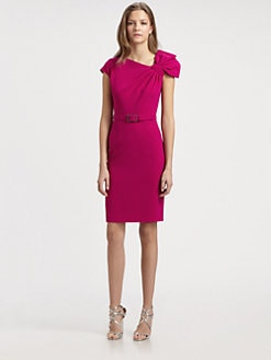 Teri Jon - Crepe Shoulder Bow Dress