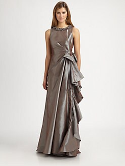 Teri Jon - Taffeta Necklace Gown