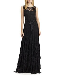 Teri Jon - Pintuck Dot Gown