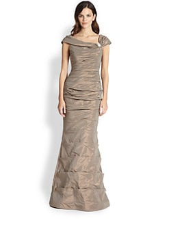 Teri Jon - Pleated Taffeta Gown