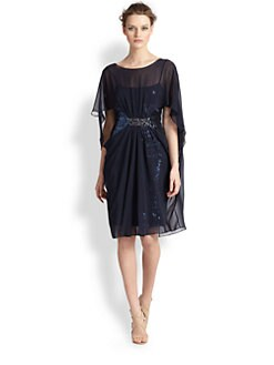 Teri Jon - Sequined Chiffon Cocoon Dress