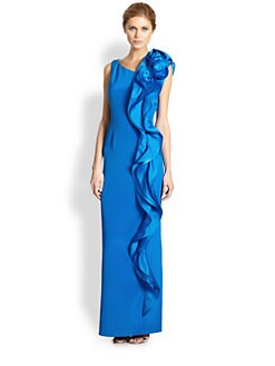 Teri Jon - Side Ruffle Gown