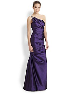 Teri Jon - Asymmetrical Taffeta Gown