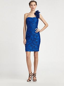 Teri Jon - Shoulder Ruffle Lace Dress
