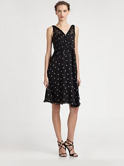 Teri Jon - Silk Chiffon Dot Dress