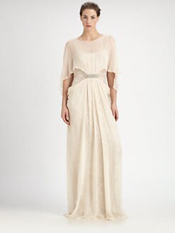 Teri Jon - Chiffon Overlay Lace Cocoon Gown