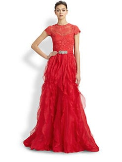 Teri Jon - Lace-Sleeve Organza Gown