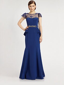 Teri Jon - Lace-Trimmed Silk Crepe Gown
